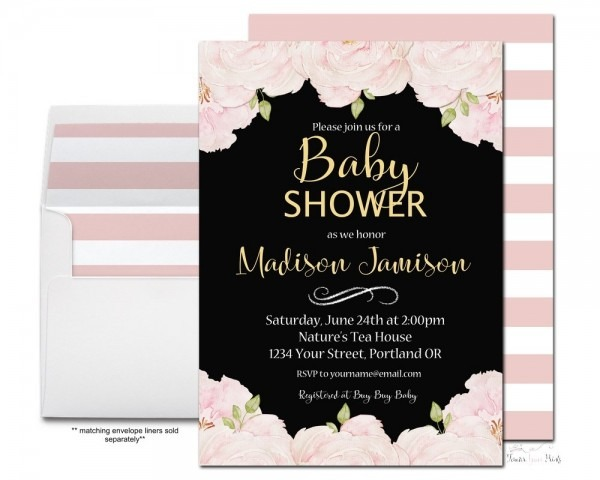 Amazon Com  Pink And Black Girls Floral Baby Shower Invitations