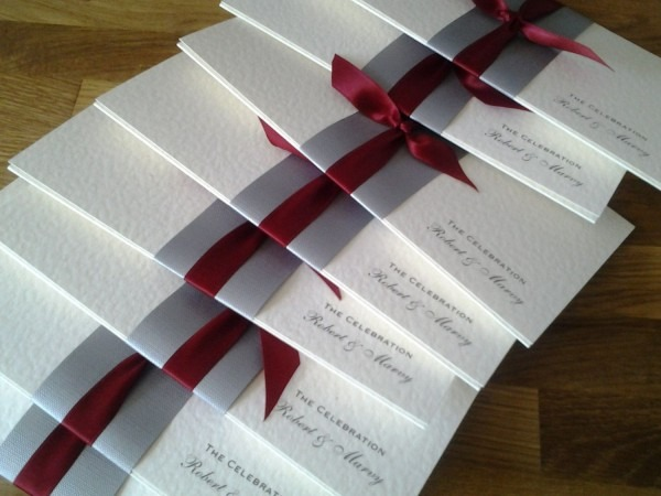 Simple Wedding Invitation Silver Band & Red By Lizzylemonsouthsea
