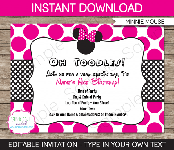 Minnie Mouse Party Invitations Template – Pink