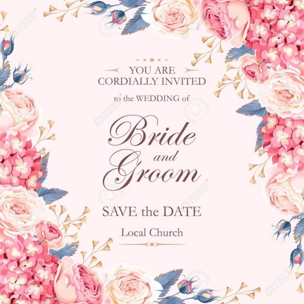 Vector Vintage Wedding Invitation Decorated With Roses And