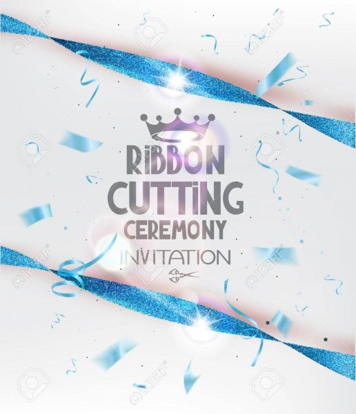 Ribbon Cutting Ceremony Invitation Card With Blue Sparkling