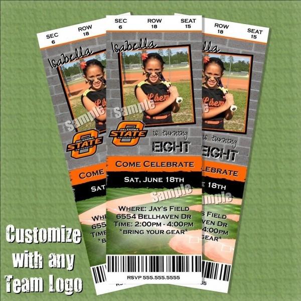 Softball Birthday Invitation Tickets