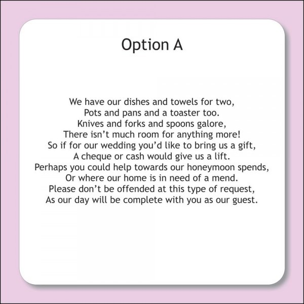 Wedding Invitation Wording Money Instead Of Gifts
