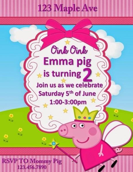 Peppa Pig Birthday Invitation, With Bonus Thank You Cards