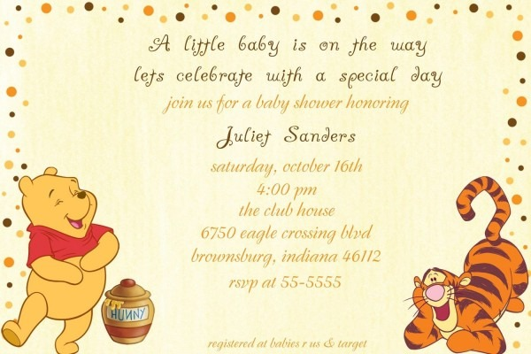 Classic Winnie The Pooh Baby Shower Invitation Templates