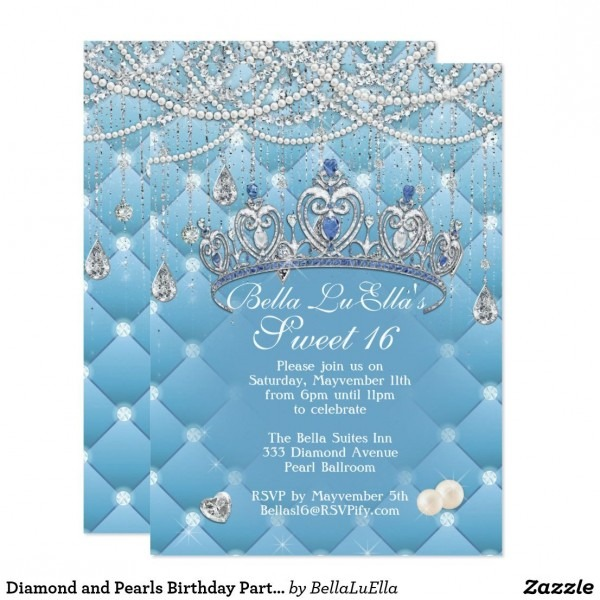 Diamond And Pearls Birthday Party Invitations