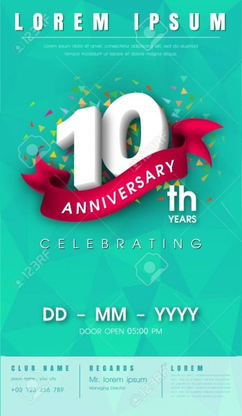 10 Years Anniversary Invitation Card Or Emblem