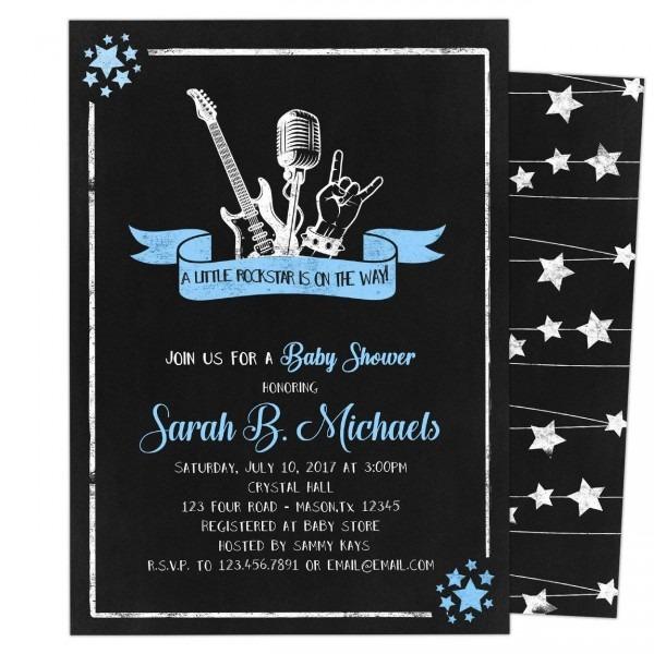 Amazon Com  Rock Star Baby Shower Invitations Boy Guitar  Handmade