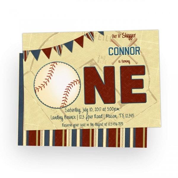 Amazon Com  Baseball 1st Birthday Invitations Boy Slugger One