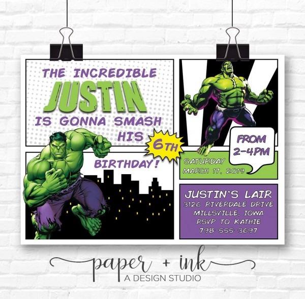 Amazon Com  Incredible Hulk Invitation  Handmade