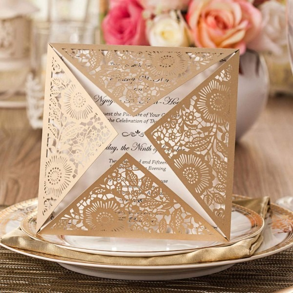 Amazon Com  Jofanza Square Laser Cut Wedding Invitations Cards 50