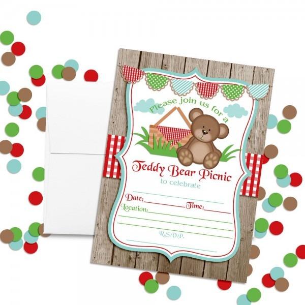 Amazon Com  Teddy Bear Picnic Birthday Party Invitations, 20 5 X7