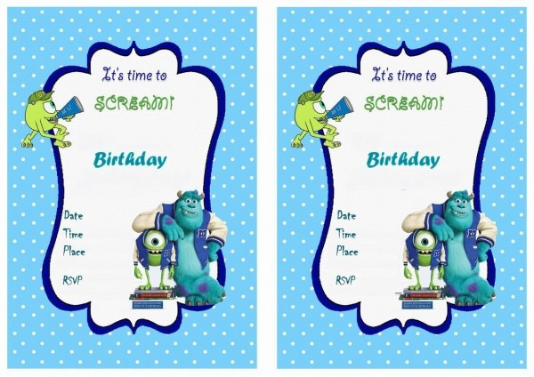 Monsters University Free Printable Birthday Party Invitations