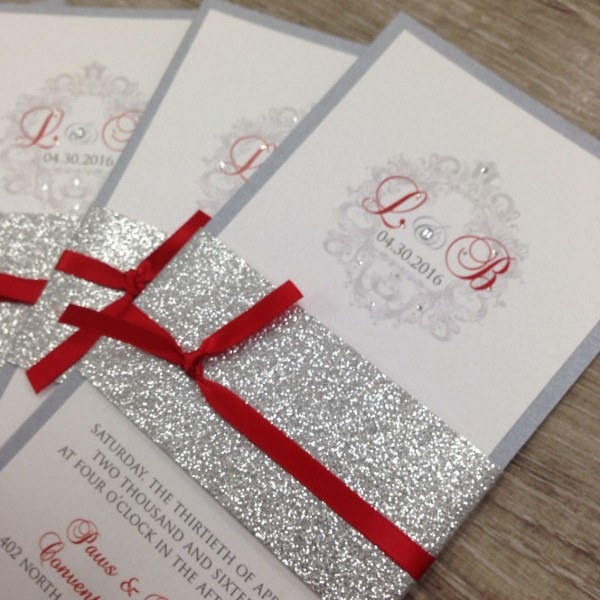 Red Silver And White Glitter Wedding Invitations  Invitations With