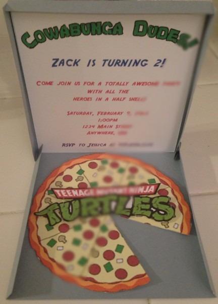 Teenage Mutant Ninja Turtles Pizza Box Invitation  $3 00, Via Etsy