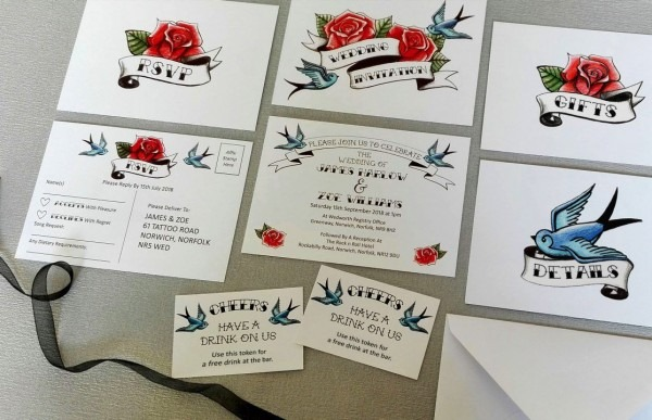 Tattoo Wedding Invitations Rock N Roll Swallows And Roses
