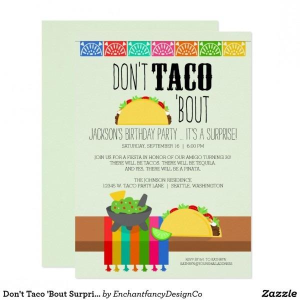 Don't Taco 'bout Surprise Birthday Invitation