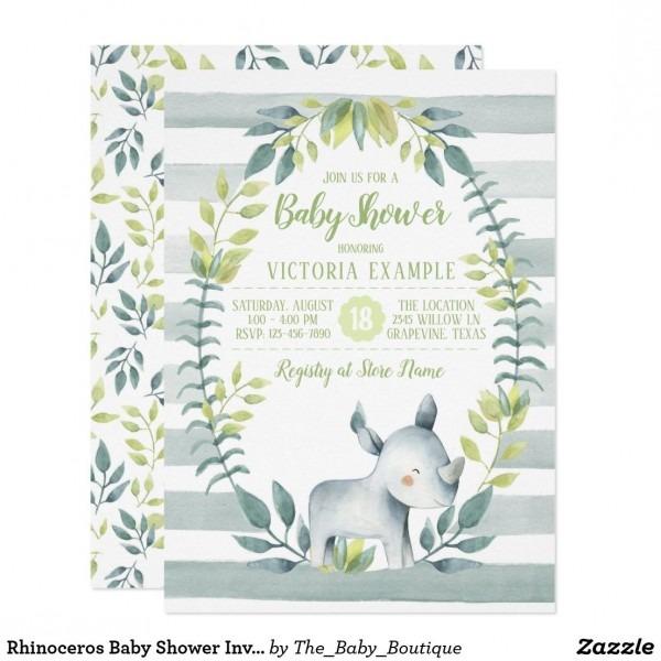 Rhinoceros Baby Shower Invitations