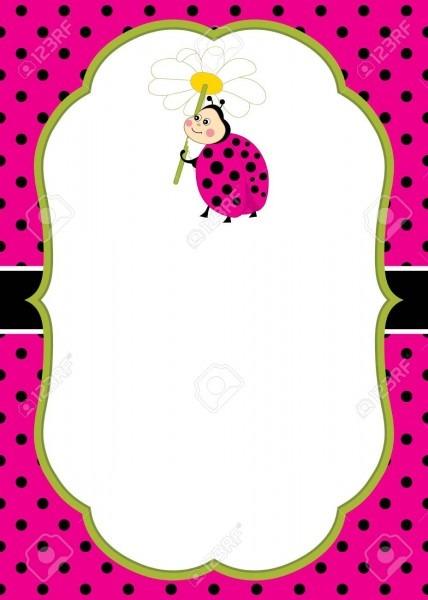 Vector Card Template With A Cute Cartoon Ladybug On Polka Dot