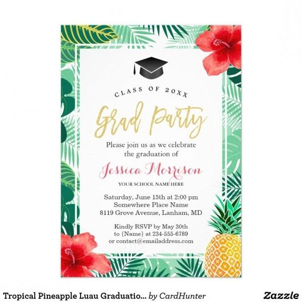 Tropical Pineapple Luau Graduation Party Invitation