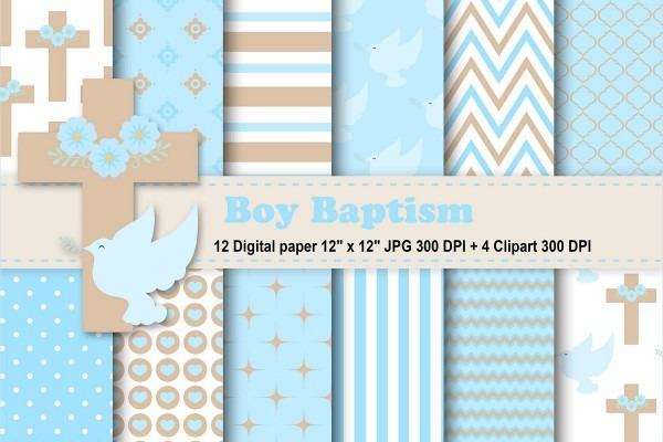 Boy Baptism Digital Paper, Boy Baptism Clipart, Baptism Background