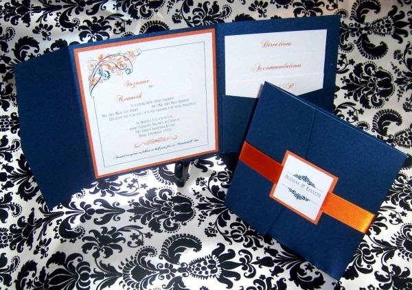 Orange And Navy Wedding Invitations