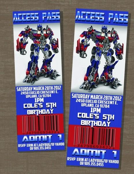 Transformers Birthday Optimus Prime Ticket Invite  $10 00, Via