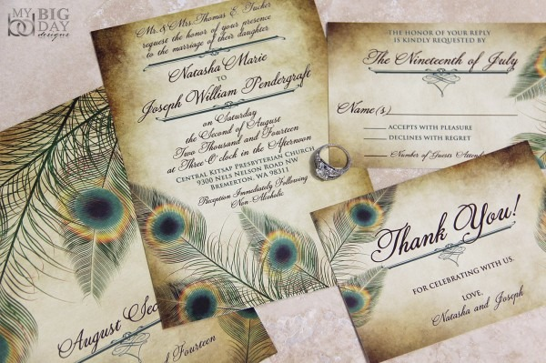 Amazon Com  The Fancy Feathers Wedding Invitation Sample Set  Handmade