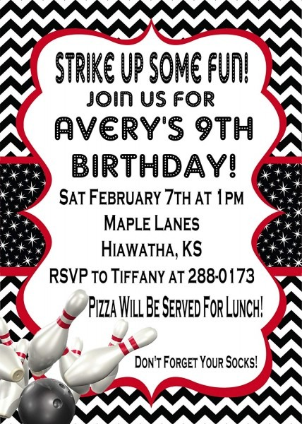 Amazon Com  Bowling Birthday Party Invitations  Handmade