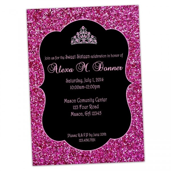Amazon Com  Glitter Hot Pink And Black Sweet 16 Invitations Crown