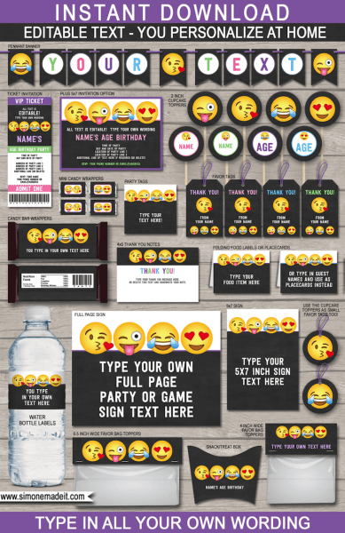 Emoji Party Printables, Invitations & Decorations – Girls
