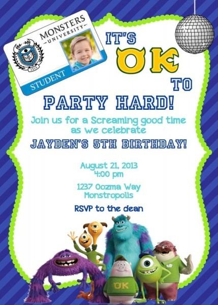 Monsters University Birthday Invite Oozma Kappa