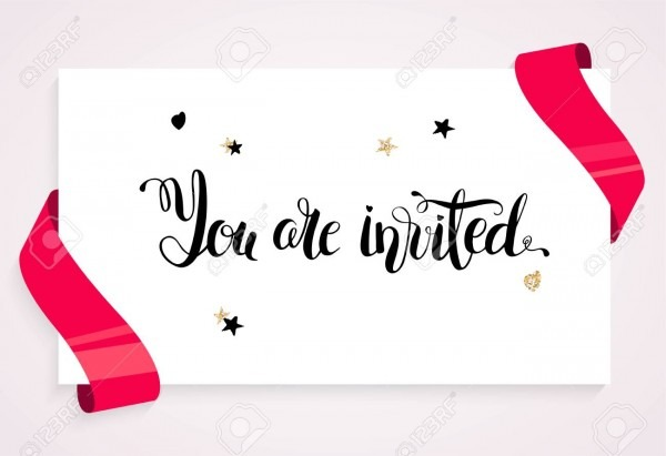 You Are Invitrd Invitation Card  Banner With Balloons, Ribbons