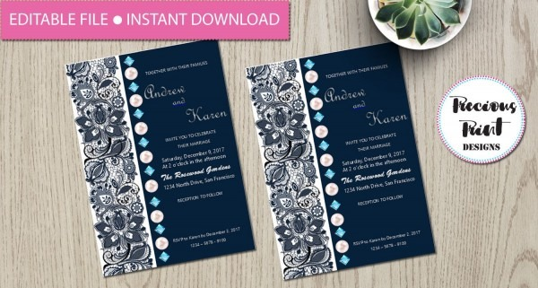 Editable Wedding Invitation With Blue Lace, Blue Diamonds And