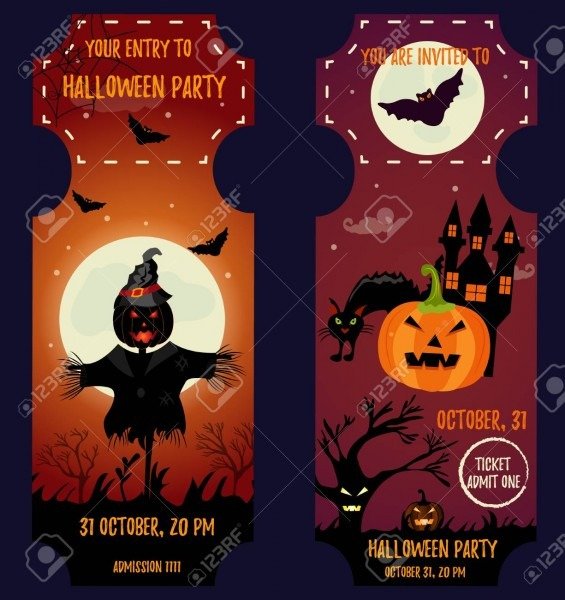 Ticket Halloween Party  Invitation Template  Halloween Background