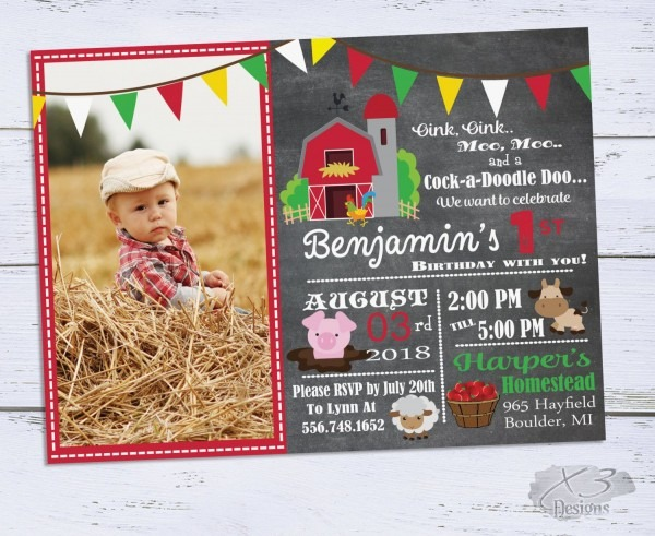 Printable Barnyard Birthday Invitations, Photo 1st Birthday