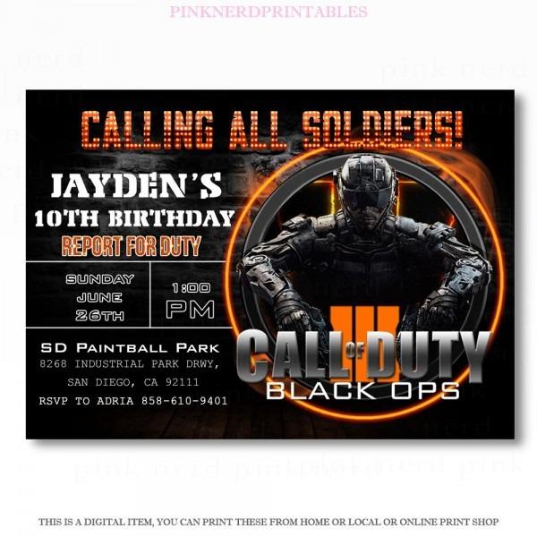 Call Of Duty Invitation, Call Of Duty Birthday Invitation, Call Of