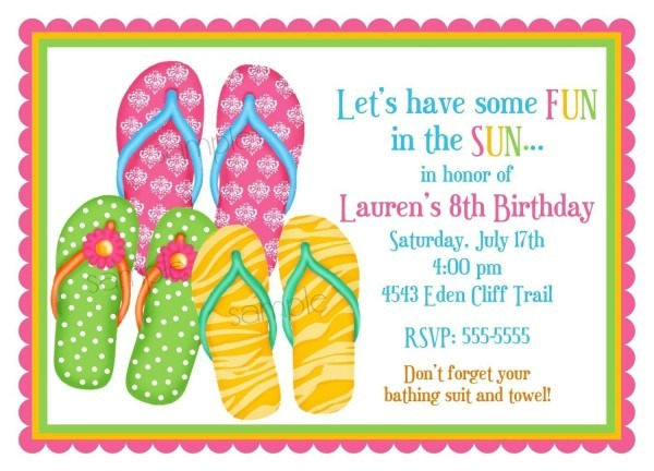 Flip Flop Invitations, Flip Flops, Summer, Pool Party, Beach