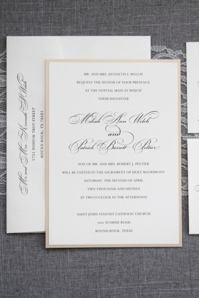 Gold Wedding Invitation, Formal Wedding Invitation, Simple Wedding