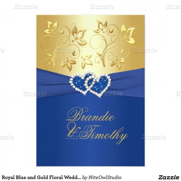 Royal Blue And Gold Floral Wedding Invitation