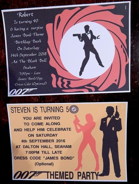 25, 50, 75 Or 100 X Personalised James Bond 007 Themed Birthday