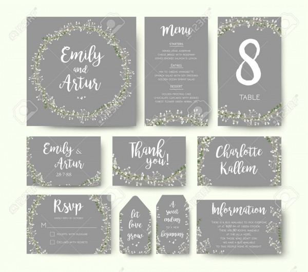 Wedding Floral Invitation Invite Flower Card Silver Gray Design