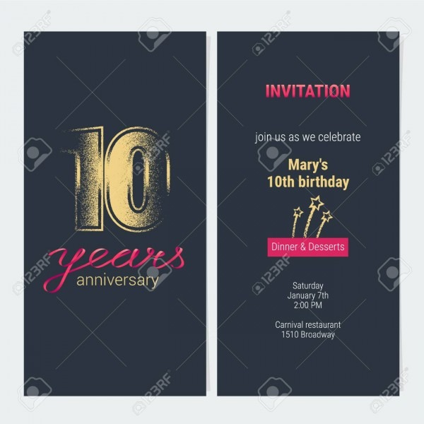 10 Years Anniversary Invitation Vector Illustration  Graphic