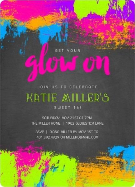 Neon Glow Paint Splatter Frame Sweet Sixteen Birthday Invitation