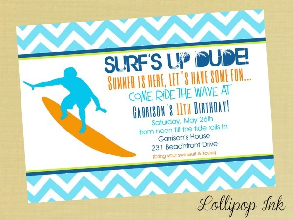 Surfing Summer Printable Invitation, Surfs Up Personalized