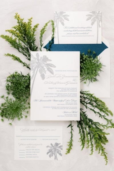 Destination Wedding Invitation Palm Tree