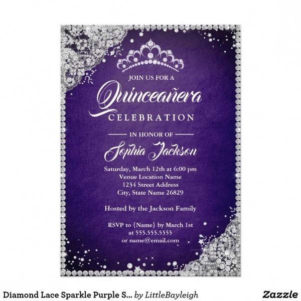 Diamond Lace Sparkle Purple Silver Quinceanera Card More Elegant
