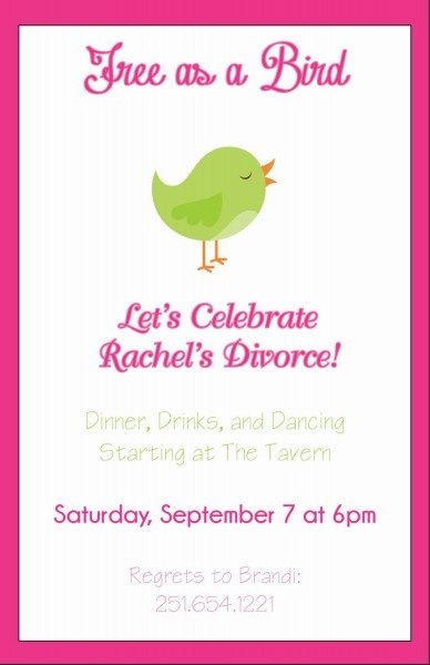 Free As A Bird Divorce Party Invitation