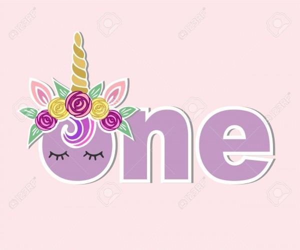 One With Unicorn Horn, Ears, Flower Wreath Vector Illustration