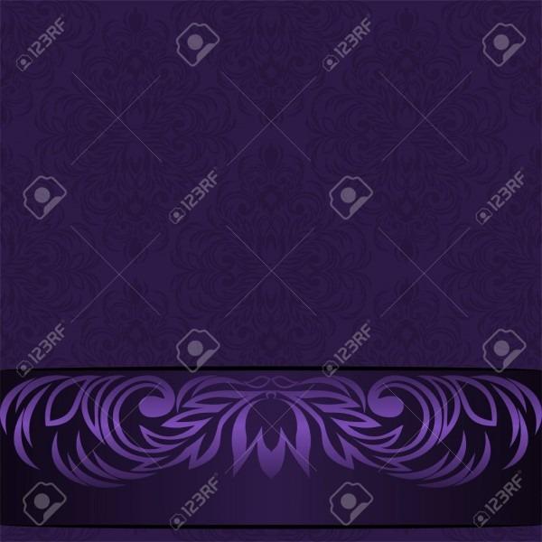 Elegant Damask Violet Background With Ornamental Border
